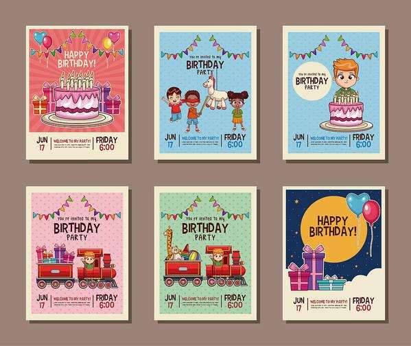 Set On Birthday Kids Party Invitation Card Art Print