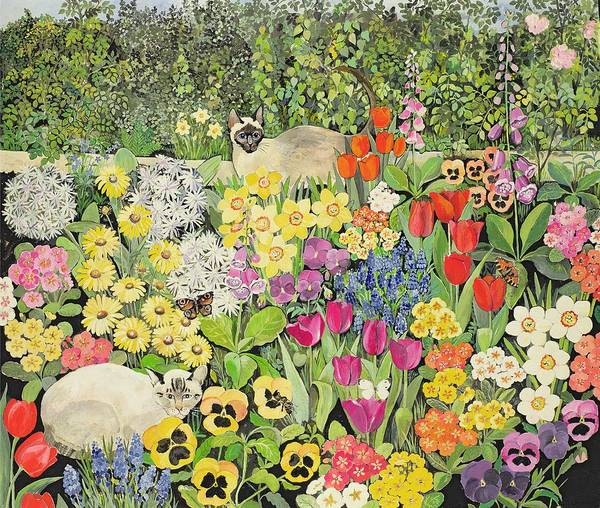 Pansy; Tulip; Daffodil; Primula; Flower Bed; Foxglove; Grape Hyacinth; Flowers; Butterfly Art Print featuring the painting Spring Cats by Hilary Jones