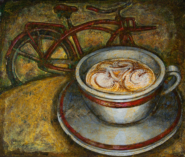 Coffee Art Print featuring the painting Still Life With Red Cruiser Bike by Mark Jones
