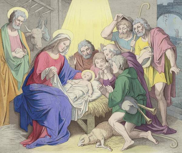 The Adoration Art Print featuring the painting The Adoration Of The Shepherds by German School