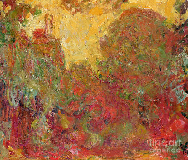 Abstract Art Print featuring the painting The House Seen From The Rose Garden by Claude Monet