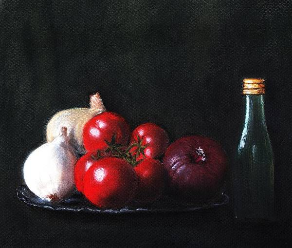 Dish Art Print featuring the painting Tomatoes And Onions by Anastasiya Malakhova