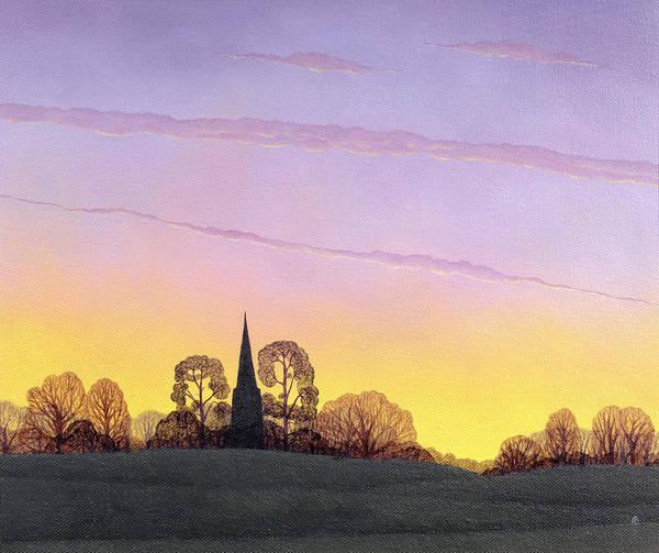 Church; Spire; Sunset; Dusk; Evening; Silhouette; Tree; Trees; Landscape; Rural Art Print featuring the painting Towards Grandborough by Ann Brian
