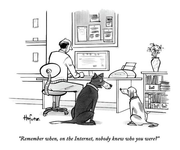 Remember When Art Print featuring the drawing Two Dogs Speak As Their Owner Uses The Computer - by Kaamran Hafeez