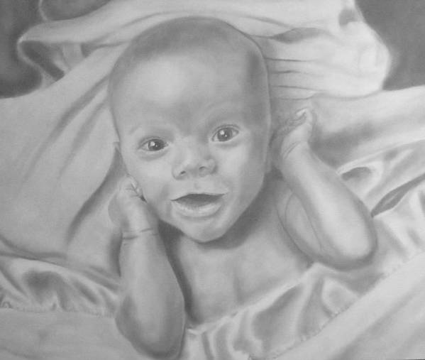 Portrait Art Print featuring the drawing Baby Carter by Hannah Ostman