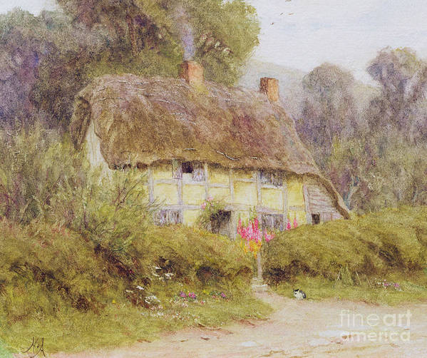 A Country Cottage Art Print featuring the painting A Country Cottage by Helen Allingham
