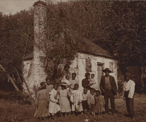 History Print featuring the photograph A Large African Americans Family Posed by Everett
