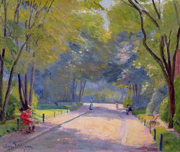 Landscape; Urban Life; Shadows Art Print featuring the painting Afternoon In The Park by Hippolyte Petitjean