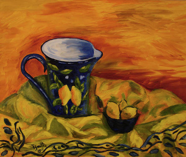 Still Life Art Print featuring the painting Blue Pitcher With Lemons by Phyllis Smith