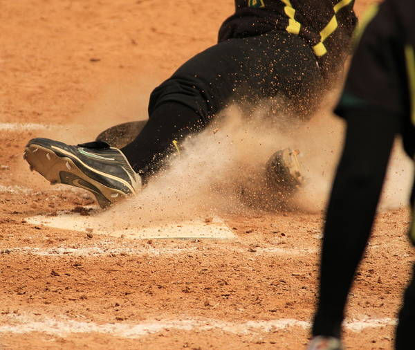 Softball Art Print featuring the photograph Coming Home With A Slide by Laddie Halupa
