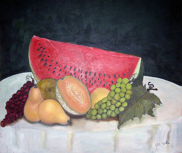 Watermelon Art Print featuring the painting Sandia Con Frutas by Veronica Zimmerman
