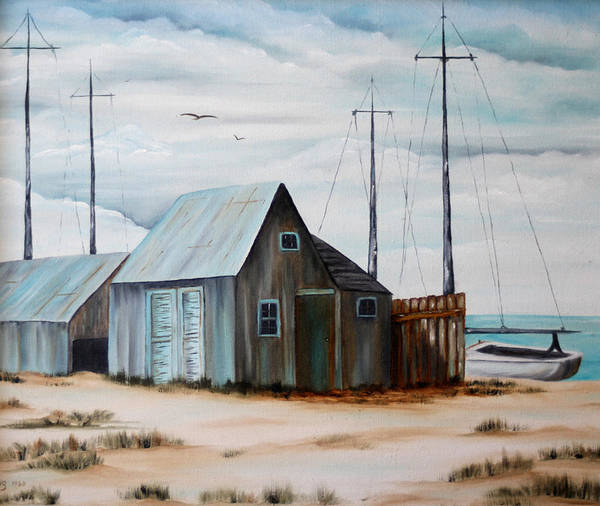 Oil Art Print featuring the painting The Beach by Meg Keeling