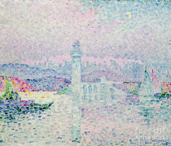 The Lighthouse At Antibes Art Print featuring the painting The Lighthouse At Antibes by Paul Signac