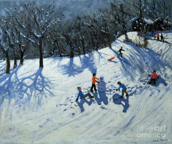 Snow Print featuring the painting The Snowman by Andrew Macara