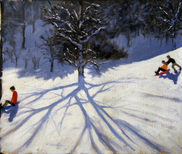 Sledge Art Print featuring the painting Tree And Two Tobogganers by Andrew Macara