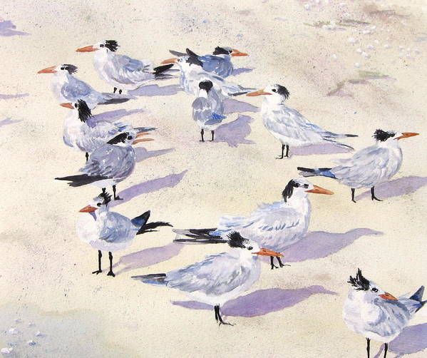 Birds Art Print featuring the painting Which Way Is The Wind Blowing by Anita Riemen