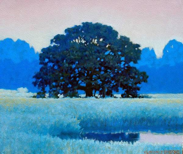 Landscape Art Print featuring the painting Oak Tree by Kevin Lawrence Leveque