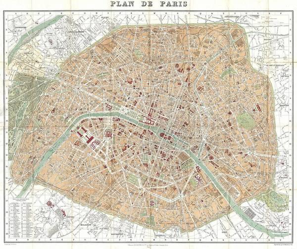 Paris Art Print featuring the drawing Vintage Map Of Paris by CartographyAssociates