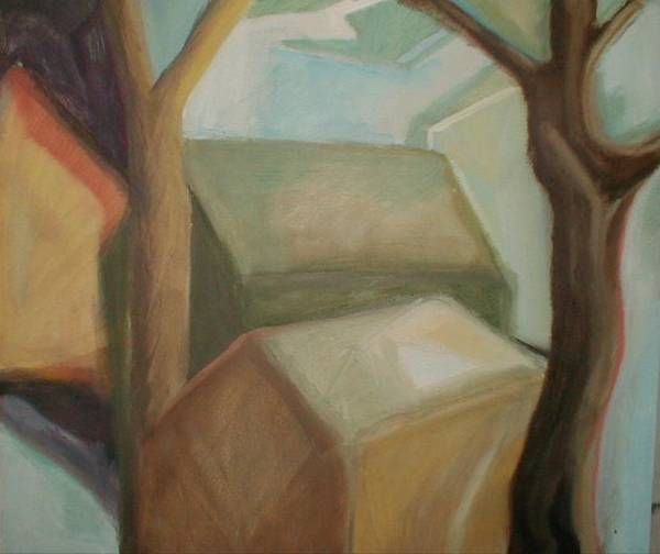 Suburban Art Print featuring the painting Abstract Backyard by Ron Erickson