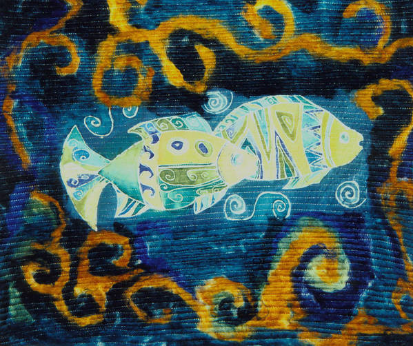 Fish Art Print featuring the tapestry - textile Another World by Aliza Souleyeva-Alexander