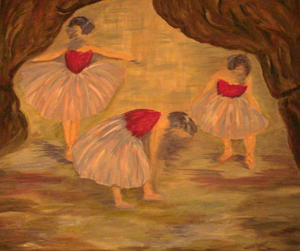 Ballet Art Print featuring the painting Ballerinas With Blue Hair by Kimberly Hill