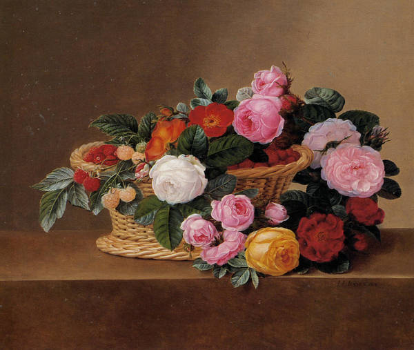 Basket Of Roses Art Print featuring the painting Basket Of Roses by johan Laurentz