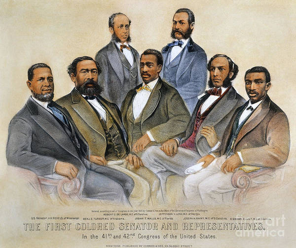 -acts & Administrations- Art Print featuring the photograph Black Senators, 1872 by Granger
