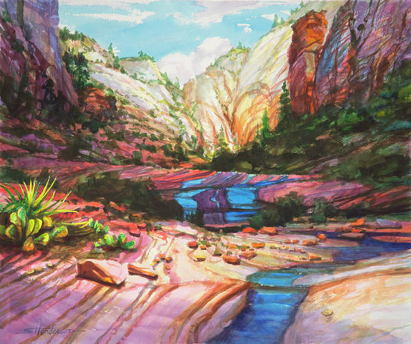 Zion Art Print featuring the painting Blue Ribbon by Steve Henderson
