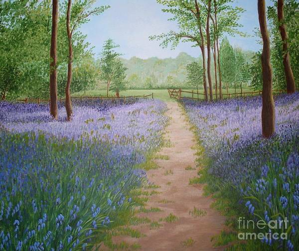 Bluebell Art Print featuring the painting Bluebells by Julia Underwood