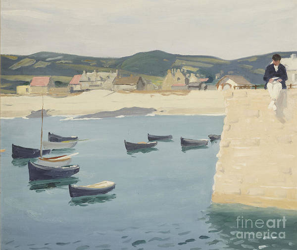 Boy Art Print featuring the painting Boy Reading On A Harbour's Edge by William Strang