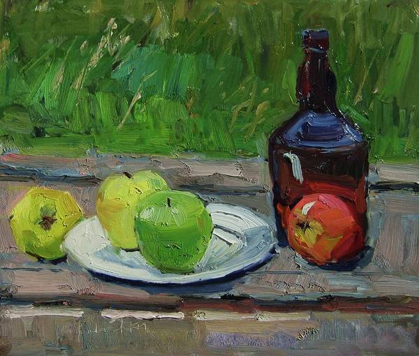 Still Life Art Print featuring the painting Brown Bottle by Paula Stern