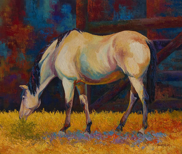 Horses Art Print featuring the painting Buckskin by Marion Rose