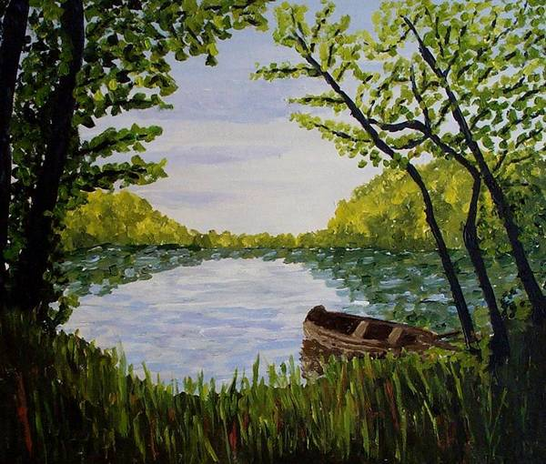 Landscape Art Print featuring the painting By The Lake by Mats Eriksson
