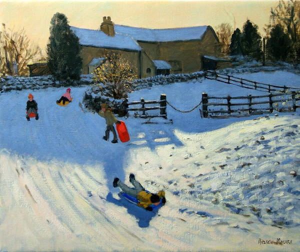 Sledging Art Print featuring the painting Children Sledging by Andrew Macara