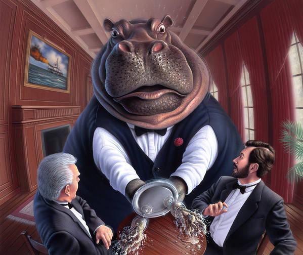 Hippo Art Print featuring the painting Clumsy by Jerry LoFaro