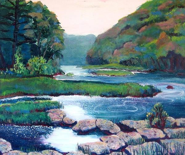 River Art Print featuring the painting Dawn In West Virginia by Art Nomad Sandra Hansen