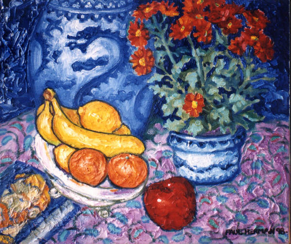 Still Life Art Print featuring the painting Dragon Vase by Paul Herman