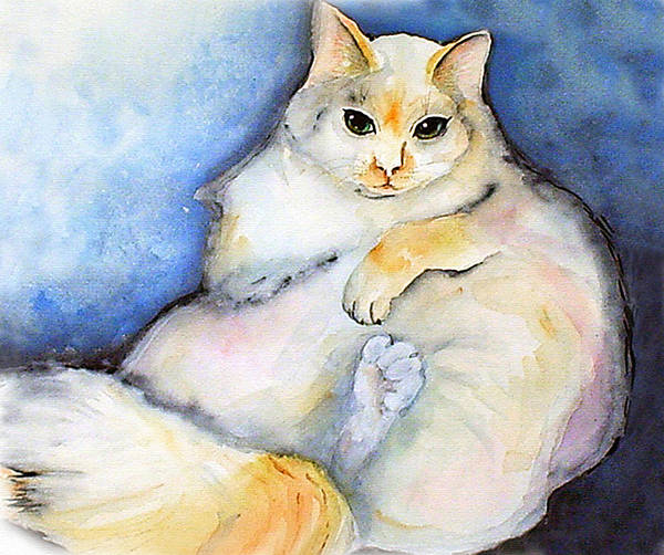 Feline Art Print featuring the painting Fat Cat by Gina Hall
