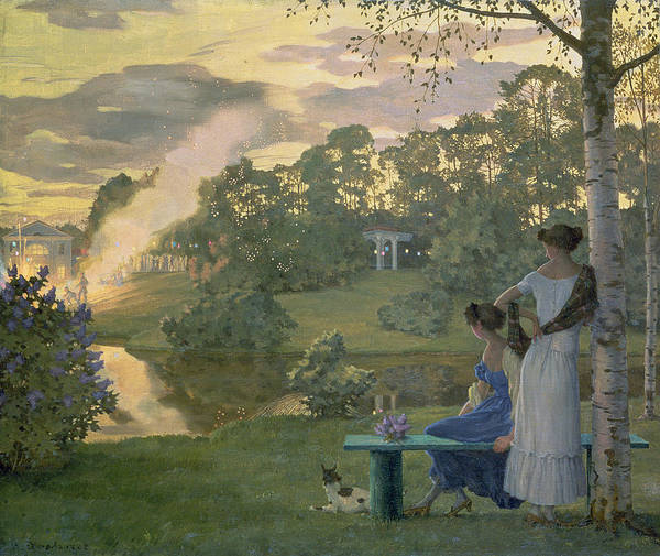 Fireworks Art Print featuring the painting Fireworks by Konstantin Andreevic Somov