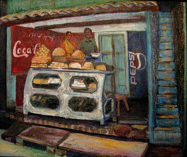 Gajak Art Print featuring the painting Gajak Sweet Shop Orchha by Art Nomad Sandra Hansen