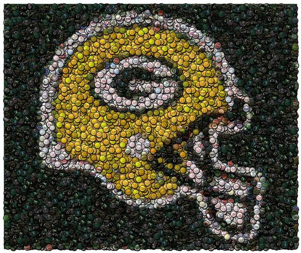 Packers Art Print featuring the digital art Green Bay Packers Bottle Cap Mosaic by Paul Van Scott