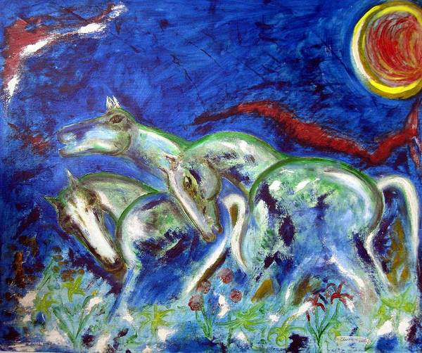 Horse Art Print featuring the painting Green Horses by Narayanan Ramachandran