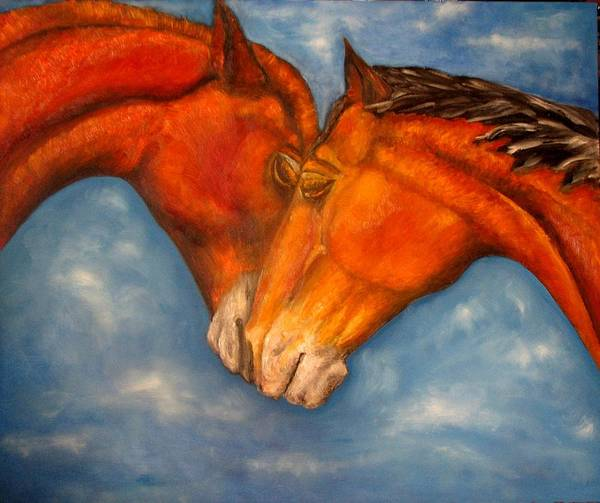 Horses Art Print featuring the painting Horses In Love.oil Painting by Natalja Picugina