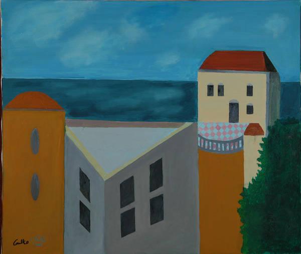 Arab Jaffa Deascape Art Print featuring the painting House In Jaffa by Harris Gulko