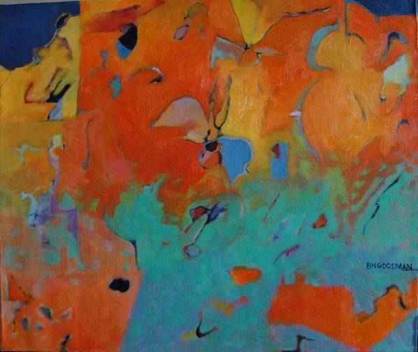 Abstract Art Print featuring the painting Icarus Descent II by Bernard Goodman