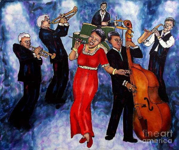 Jazz Art Print featuring the painting Jazz Band by Linda Marcille