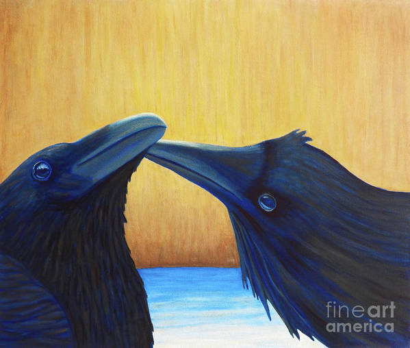 Ravens Art Print featuring the painting K And B by Brian Commerford