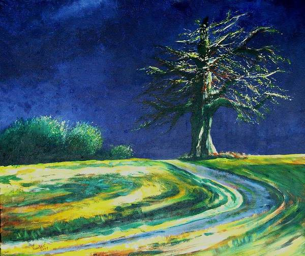 Tree Art Print featuring the painting Light On A Tree by Veronique Radelet