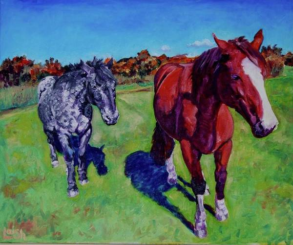 Horses Art Print featuring the painting Me And My Shadow by Helen Laishley