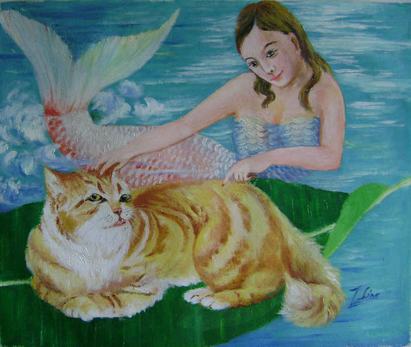Fantasy Art Print featuring the painting Mermaid And Cat by Lian Zhen